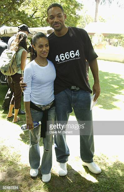 """Jada Pinkett-Smith Will Smith pose ahead of tonight's charity concert """"46664 South Africa"""", at the Fancourt Hotel and Resort on March 19, 2005 in..."""