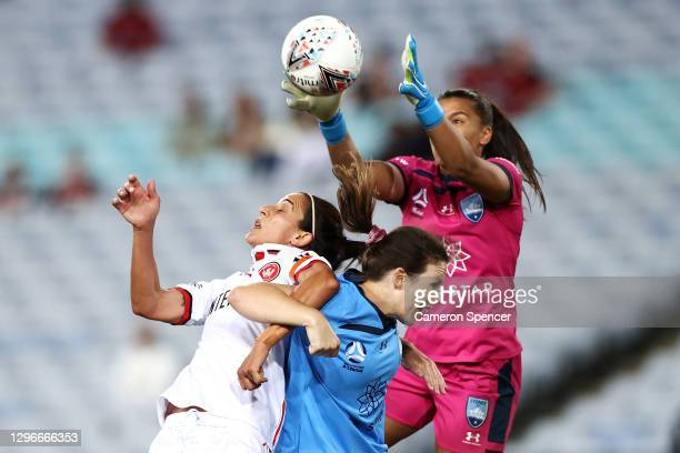 Jada Whyman of Sydney FC goalkeeps during the round four W-League match between Sydney FC and the Western Sydney Wanderers at ANZ Stadium, on January...