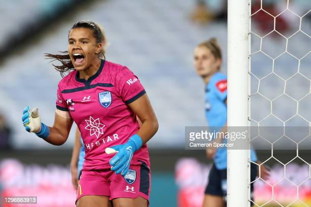 Jada Whyman of Sydney FC shouts at team mates during the round four W-League match between Sydney FC and the Western Sydney Wanderers at ANZ Stadium,...