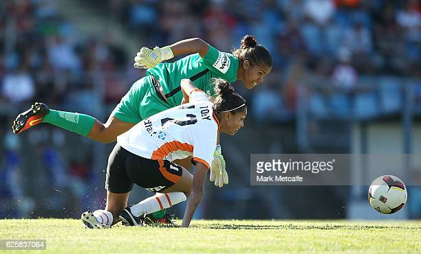 Jada Whyman of the Wanderers is dispossessed by Allira Toby of the Roar during the round four WLeague match between the Western Sydney Wanderers and...