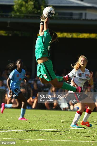 Jada Whyman of the Wanderers jumps to catch the ball during the round eight WLeague match between Sydney FC and the Western Sydney Wanderers at...