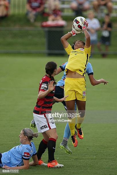Jada Whyman of the Wanderers makes a save during the round nine WLeague match between Western Sydney and Sydney at Popondetta Park on December 30...