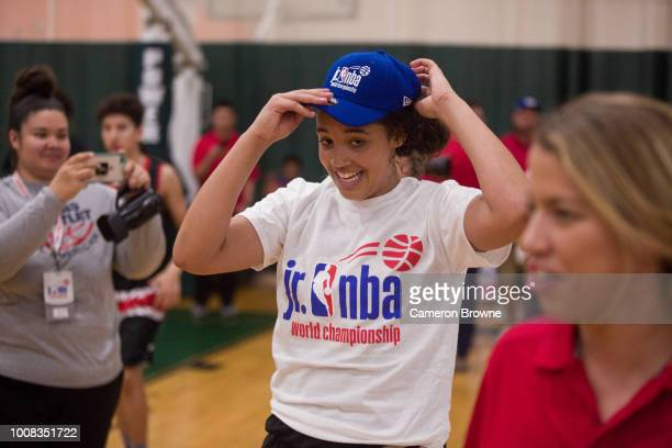 Jada Wynn of Tree of Hope Pacific Red celebrates after the game against Washington Evolution during the Jr NBA World Championship Northwest Regional...