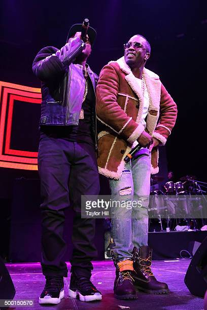 """Jadakiss and Puff Daddy perform during Hot 97's """"Busta Rhymes And Friends: Hot For The Holidays"""" concert at Prudential Center on December 5, 2015 in..."""