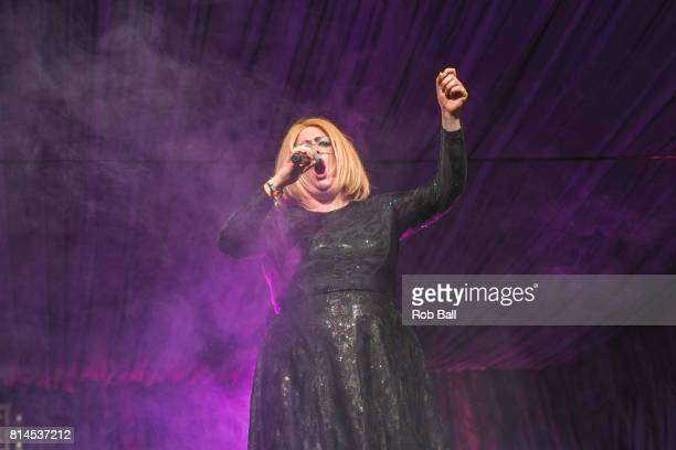 Jade Adams impersonates Adele on the Comedy Stage at Latitude Festival at Henham Park Estate on July 14 2017 in Southwold England