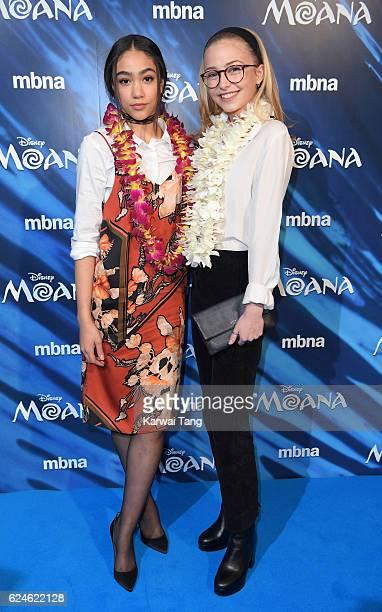Jade Alleyne and Sophie Simnett attend the UK Gala screening of MOANA at BAFTA on November 20 2016 in London England