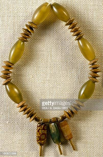 Jade and gold necklace with three pendants in agate and jasper from Mohenjodaro Pakistan Goldsmith's art Indus Valley Civilisation 2nd millennium BC