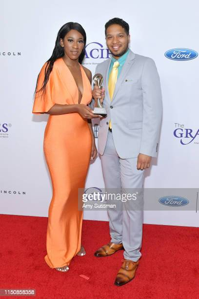 Jade Anderson and Gabriel Kerr attend the 44th Annual Gracies Awards, hosted by The Alliance for Women in Media Foundation at the Beverly Wilshire...