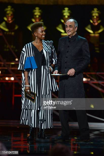 Jade Anouka and Art Malik present an award on stage during The Olivier Awards 2019 with Mastercard at the Royal Albert Hall on April 07, 2019 in...