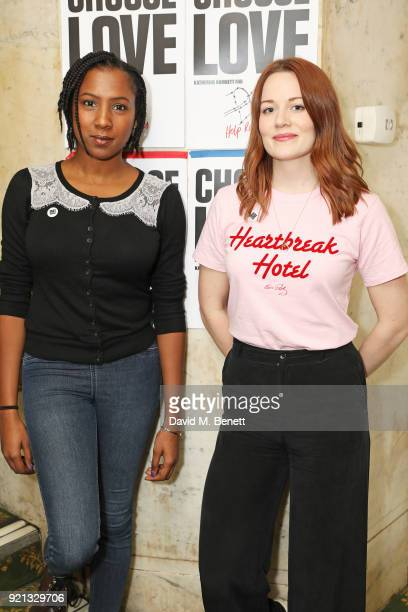 Jade Anouka and Cara Theobold attend the Choose Love fundraiser in aid of Help Refugees at The Fortune Theatre on February 19 2018 in London England