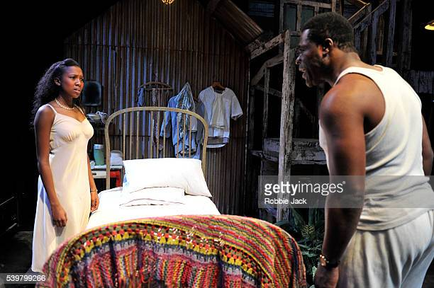 Jade Anouka as Rosa and Danny Sapani as Ephraim in Errol John's Moon on a Rainbow Shawl directed by Michael Buffong at the National Theatre in London.