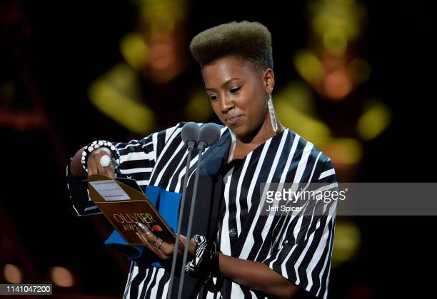 Jade Anouka presents an award on stage during The Olivier Awards 2019 with Mastercard at the Royal Albert Hall on April 07, 2019 in London, England.