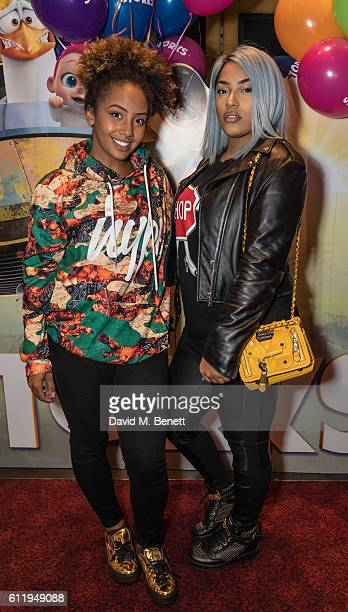 Jade Avia and Stefflon Don attend a multimedia screening of 'Storks' at Cineworld Leicester Square on October 2 2016 in London England