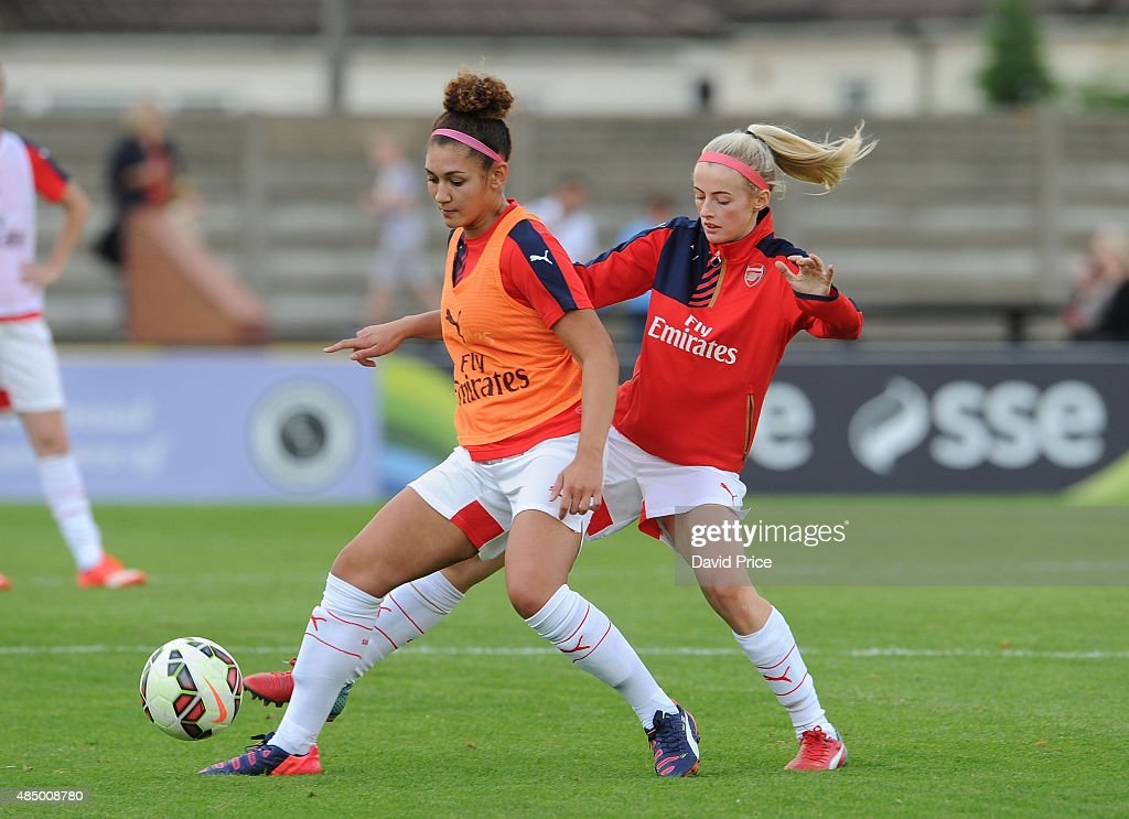 Jade Bailey and Chloe Kelly of Arsenal Ladies warm up before the match between Arsenal Ladies and Chelsea Ladies at Meadow Park on August 23, 2015 in Borehamwood, England.