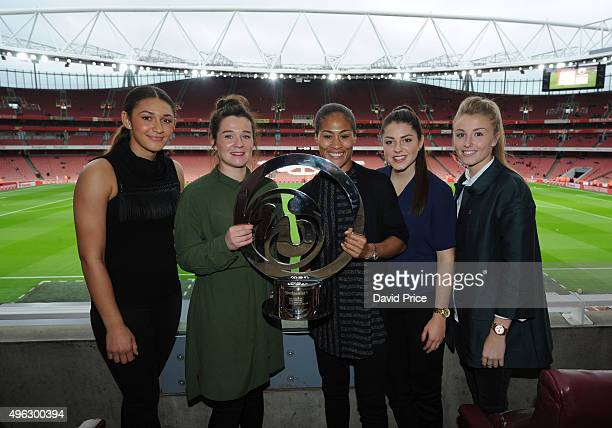 Jade Bailey Emma Mitchell Rachel Yankey Carla Humphrey and Leah Williamson of the Arsenal Ladies with the Continental Cup Trophy before the Barclays...