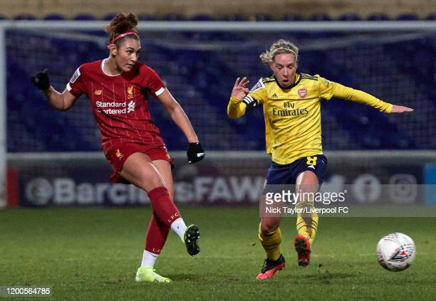 Jade Bailey of Liverpool and Jordan Nobbs of Arsenal in action during the Barclays FA Women's Super League match between Liverpool and Arsenal at...
