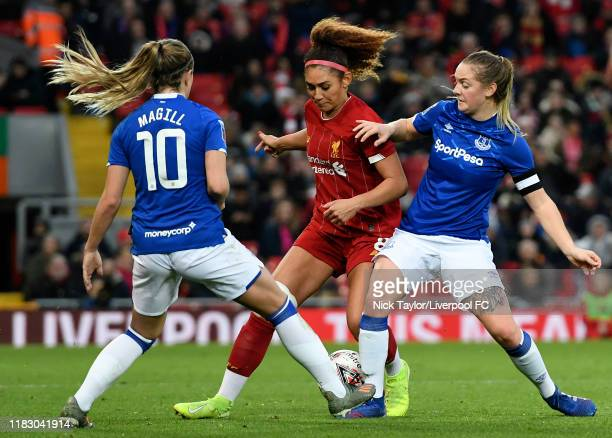 Jade Bailey of Liverpool FC Women and Lucy Graham of Everton Women in action during the Barclays FA Women's Super League match between Liverpool and...