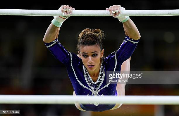 Jade Barbosa of Brazil competes on the uneven bars during Women's qualification for Artistic Gymnastics on Day 2 of the Rio 2016 Olympic Games at the...