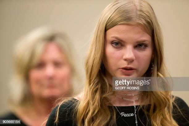 Jade Capuaa victim of former USA Gymnastics doctor Larry Nassar gives her victim impact statement during his sentencing hearing in Lansing Michigan...