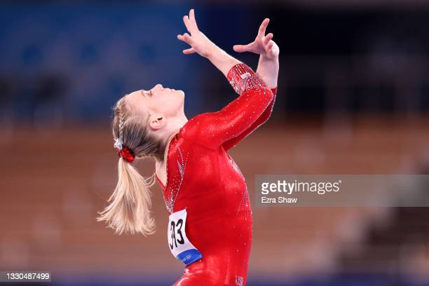 Jade Carey of Team United States competes in the floor exercise during Women's Qualification on day two of the Tokyo 2020 Olympic Games at Ariake...