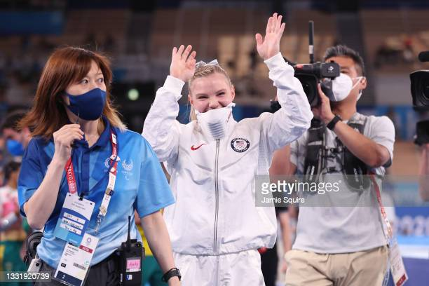 Jade Carey of Team United States waves after winning the Women's Floor Exercise Final on day ten of the Tokyo 2020 Olympic Games at Ariake Gymnastics...