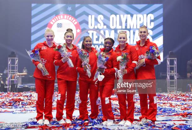 Jade Carey, Sunisa Lee, Jordan Chiles, Simone Biles, Mykayla Skinner and Grace McCallum, the women that will represent Team USA, pose following the...