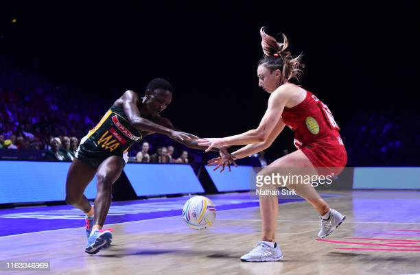 Jade Clarke of England and Bongiwe Msomi of South Africa in action during the bronze medal match between England and South Africa at MS Bank Arena on...