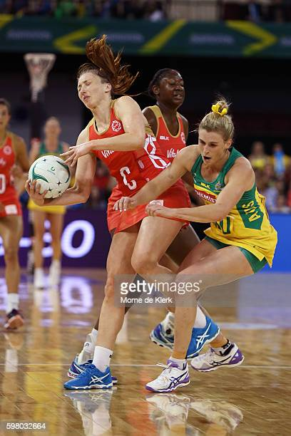 Jade Clarke of the Roses and Gabi Simpson of the Diamonds collide during the International Test match between the Australian Diamonds and England at...
