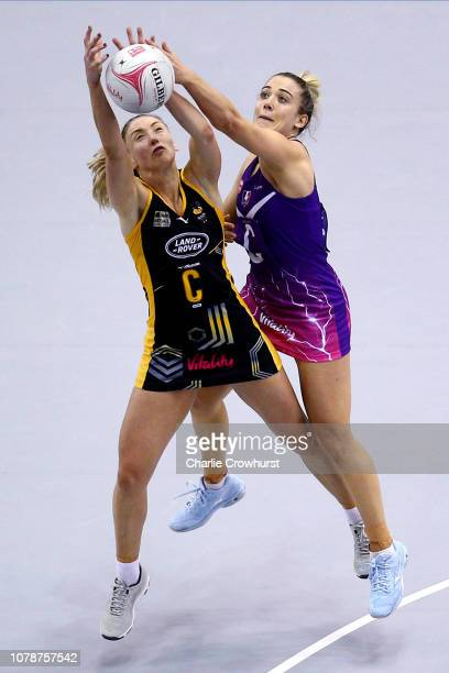 Jade Clarke of Wasps battles for the ball with Loughborough's Natalie Panagarry during the match between Wasps and Loughborough Lightning during the...
