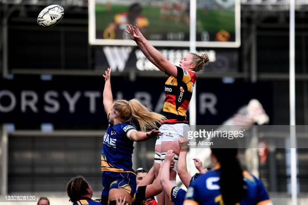 Jade Coates of Waikato looks to recieve the ball from a lineout during the round four Farah Palmer Cup match between Otago and Waikato at Forsyth...
