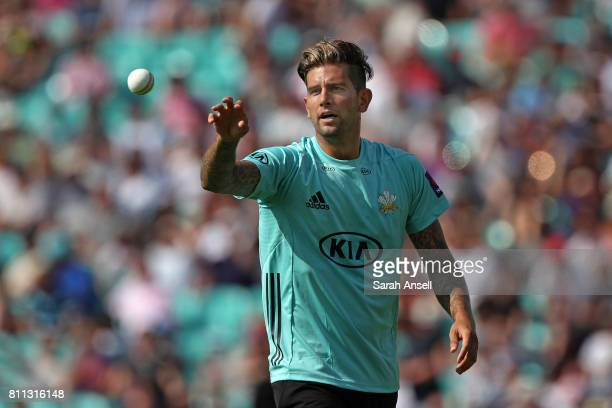 Jade Derbach of Surrey of Somerset catches the ball during the NatWest T20 Blast match at The Kia Oval on July 9 2017 in London England