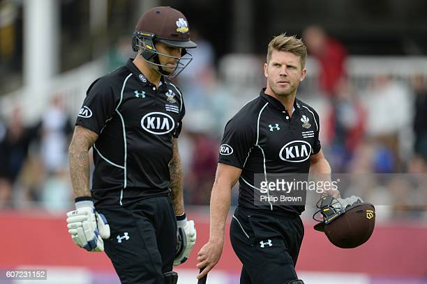 Jade Dernbach and Stuart Meaker of Surrey leave the field after Surrey's innings during the Royal London oneday cup final cricket match between...