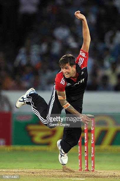 Jade Dernbach of England bowls during the 1st One Day International between England and India at The Rajiv Gandhi International Cricket Stadium on...