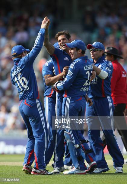 Jade Dernbach of England celebrates taking the wicket of Dean Elgar of South Africa during the 3rd NatWest ODI between England and South Africa at...