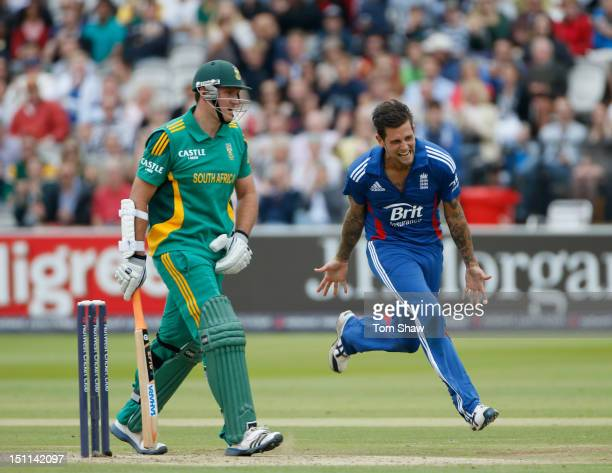 Jade Dernbach of England celebrates taking the wicket of Graeme Smith of South Africa during the 4th NatWest Series ODI between England and South...