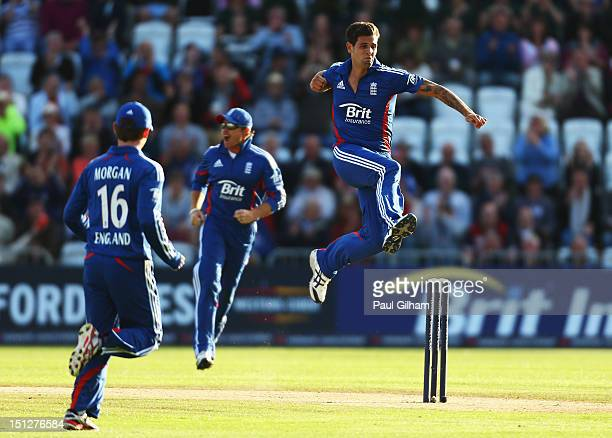 Jade Dernbach of England celebrates taking the wicket of Graeme Smith of South Africa for 1 run during the Fifth NatWest Series One Day International...