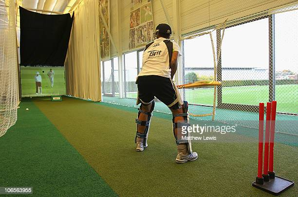 Jade Dernbach of England in the Pro Batter net during an ECB England Performance Programme Training Session at the National Cricket Performance...