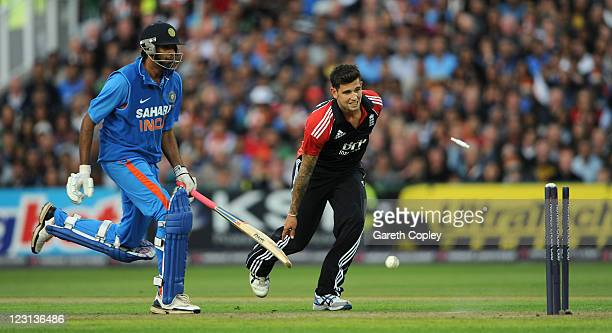 Jade Dernbach of England runs out Ravichandran Ashwin of India during the NatWest International Twenty20 Match between England and India at Old...