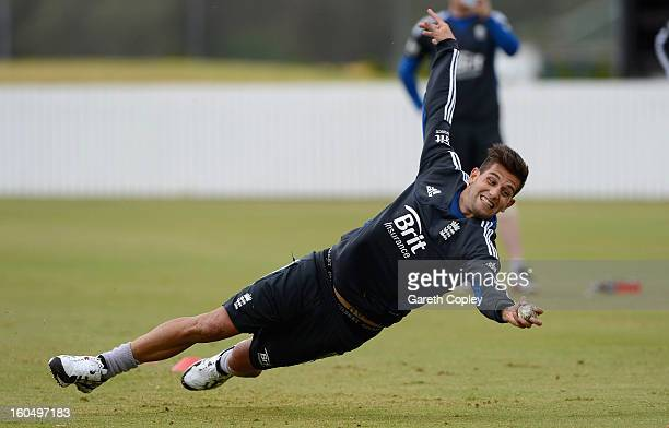 Jade Dernbach of England takes part in a fielding drill during a nets session at Cobham Oval on February 2 2013 in Whangarei New Zealand