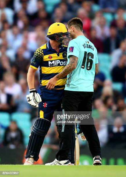 Jade Dernbach of Surrey and Graham Wagg of Glamorgan have a confrontation during the NatWest T20 Blast match between Surrey and Glamorgan at The Kia...