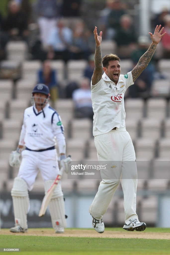 Jade Dernbach of Surrey appeals unsuccessfully for the wicket of George Bailey of Hampshire during day two of the Specsavers County Championship Division One match between Hampshire and Surrey at the Ageas Bowl on September 6, 2017 in Southampton, England.