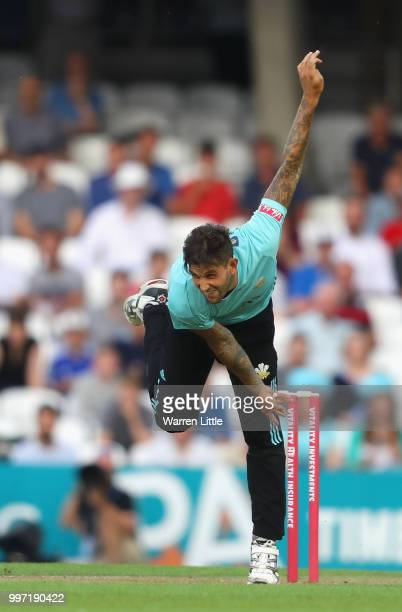 Jade Dernbach of Surrey bowls during the Vitality Blast match between Surrey and Essex Eagles at The Kia Oval on July 12 2018 in London England