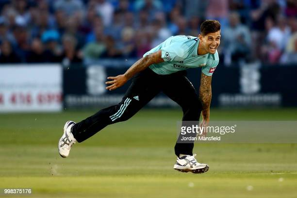 Jade Dernbach of Surrey bowls during the Vitality Blast match between Sussex Sharks and Surrey at The 1st Central County Ground on July 13 2018 in...