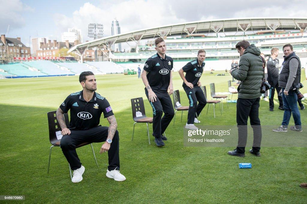Jade Dernbach of Surrey CCC poses during the Surrey CCC Photocall at The Kia Oval on April 16, 2018 in London, England.