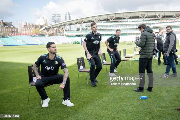 Jade Dernbach of Surrey CCC poses during the Surrey CCC Photocall at The Kia Oval on April 16 2018 in London England