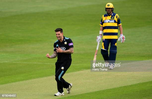 Jade Dernbach of Surrey celebrates after dismissing David Lloyd of Glamorgan during the Royal London OneDay Cup match between Glamorgan and Surrey at...
