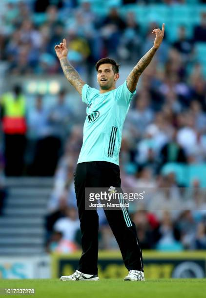 Jade Dernbach of Surrey celebrates celebrates dismissing Gareth Berg of Hampshire during the Vitality Blast match between Surrey and Hampshire at The...