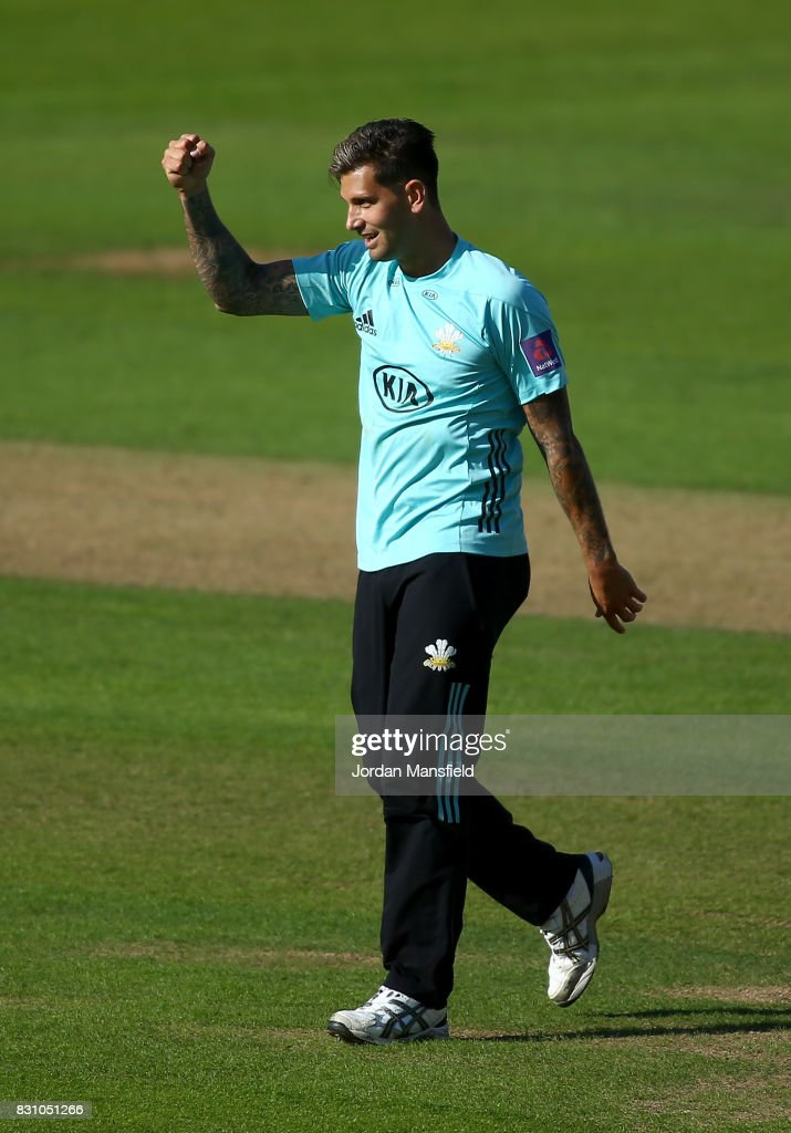 Jade Dernbach of Surrey celebrates dismissing Ben Brown of Sussex during the NatWest T20 Blast match between Surrey and Sussex Shark at The Kia Oval on August 13, 2017 in London, England.