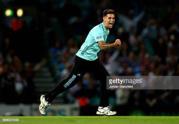 Jade Dernbach of Surrey celebrates dismissing Dom Sibley of Birmingham during the NatWest T20 Blast QuarterFinal between Surrey and Birmingham Bears...