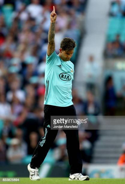Jade Dernbach of Surrey celebrates dismissing Jack Taylor of Gloucestershire during the NatWest T20 Blast match between Surrey and Gloucestershire at...